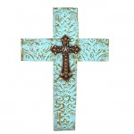 1260 - DAMASK TURQUOISE METAL CROSS W/ AMBER CRYSTAL STAR