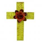 1262 - DAMASK GREEN METAL CROSS W/ ORANGE FLOWER