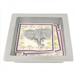52432 - SQUARE NAPKIN HOLDER W/ ELEPHANT WEIGHT