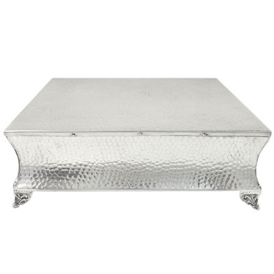 """80065A - LARGE SQUARE HAMMERED CAKE PLATEAU - 22"""""""