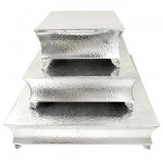 80065 - SQUARE HAMMERED CAKE PLATEAU SET/3