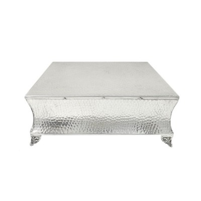 """80094 - SMALL SQUARE HAMMERED CAKE PLATEAU - 12"""""""