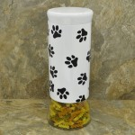 30063 - 64 Oz. WHITE GLASS JAR / W BLACK PAW PRINT