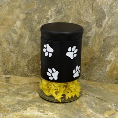 30163 - 33 Oz. BLACK GLASS JAR / W WHITE PAW PRINT