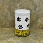 30164 - 33 Oz. WHITE GLASS JAR / W BLACK PAW PRINT