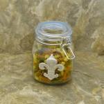 30224BLUE-FDL 30 Oz. SQUARE GLASS JAR W / BLUE CLIP LID & FDL