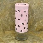 31552 - 64 Oz. PINK GLASS JAR / W BLACK PAW PRINT