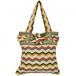 181199 - ORANGE & WHITE CHEVRON SHOULDER BAG