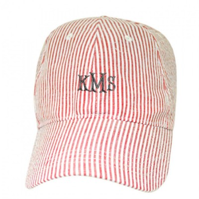 32518 - RED COTTON SEER SUCKER CAP