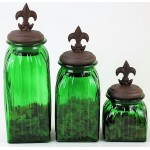 40074GREEN - SQUARE MEDIUM GREEN CANISTER SET / W COPPER FDL LIDS