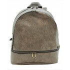 3603-GRAY PU LEATHER MEDIUM BACKPACK