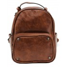 3219-CAMEL PU LEATHER SMALL BACKPACK