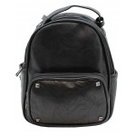 3219-BLACK PU LEATHER SMALL BACKPACK