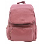 3508-PINK PU LEATHER MEDIUM BACKPACK