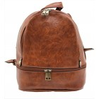 3687-CAMEL PU LEATHER SMALL BACKPACK