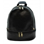3687-BLACK PU LEATHER SMALL BACKPACK