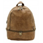 3687-TAN PU LEATHER SMALL BACKPACK
