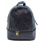 3687-NAVY PU LEATHER SMALL BACKPACK