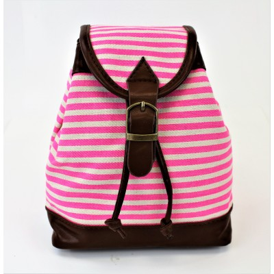 9149 - PINK STRIPE SMALL BACKPACK