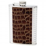STAINLESS STEEL FLASK WITH BROWN FAUX LEATHER INLAYS - 8 Oz.