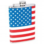 STAINLESS STEEL FLASK /W AMERICAN FLAG WRAP - 8 Oz.