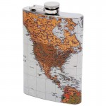 KTFLMAP-STAINLESS STEEL FLASK /W ANTIQUE WORLD MAP- 8 Oz.