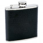 STAINLESS STEEL FLASK /W BLACK WRAP - 6 Oz.