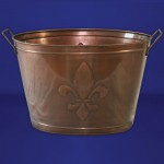 1198 Tub Oval Large Copper / W Single Fleur De Lis