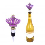 1005-PL - PURPLE STONE WINE STOPPER / W CROWN DESIGN