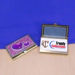 ST32104-PUR-HRT CRYSTAL PURPLE HEART / BUSINESS CARD HOLDER