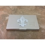 180664-FDL-FLEUR DE LIS BUSINESS CARD HOLDER SILVER W/LINES
