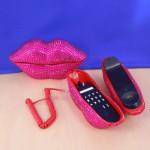 ST32100HPNK - LIPS PHONE SET / W PINK CRYSTAL
