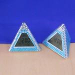 ST32103BLUE - PYRAMID ALARM CLOCK / W BLUE CRYSTAL