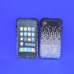 ST32122 - IPHONE COVER / BLACK & CLEAR CRYSTAL