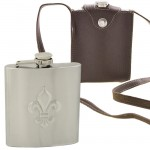 181080 - FDL STAINLESS STEEL HIP FLASK 9 OZ./ W BROWN LEATHER COVER