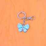 CH4003-BLUE BUTTERFLY KEY CHAIN HOLDER / W CLEAR STONE