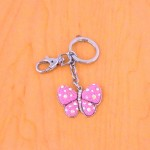 CH4003-PNK PINK BUTTERFLY KEY CHAIN HOLDER / W CLEAR STONE