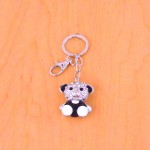 CH4010-TEDDY BEAR KEY CHAIN HOLDER / W CLEAR CRYSTAL