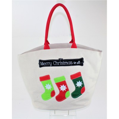 "9206 - ""MERRY CHRISTMAS TO ALL"" CANVAS TOTE"