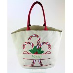 9208 - CANDY CANES CHRISTMAS CANVAS TOTE