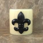 1155BLK - FLEUR DE LIS / BLACK CANDLE PIN