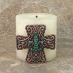 7001-COP-GRN - COPPER CROSS CANDLE PIN W / GREEN STONE FDL