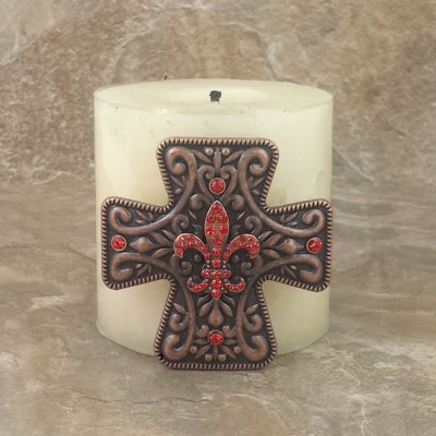 7001-COP-RED - COPPER CROSS CANDLE PIN W / RED STONE FDL