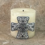 7001-SIL-BLK - SILVER CROSS CANDLE PIN W / BLACK STONE FDL