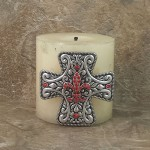 7001-SIL-RED - SILVER CROSS CANDLE PIN W / RED STONE FDL