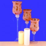 3146AMBER - GLASS 3 PC. SET CANDLE HOLDER AMBER