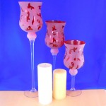3146RED- GLASS 3 PC. SET CANDLE HOLDER RED W/DESIGN