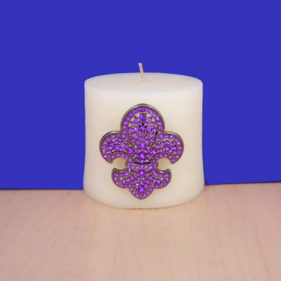 1034PL - PURPLE STONE CANDLE PIN W / FDL