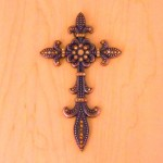 7003COP-AMB AMBER CRYSTAL / COPPER WALL CROSS / W FDL DESIGN