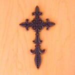 7003COP-BLK BLACK CRYSTAL / COPPER WALL CROSS / W FDL DESIGN